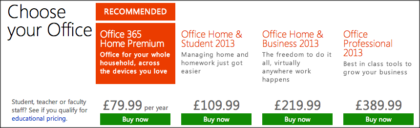 Office 2013 Comparison Pricing