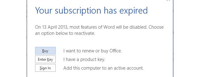 Your Subscription has expired and therefore (depending on plan) will cause Office Pro Plus 2013 to expire.